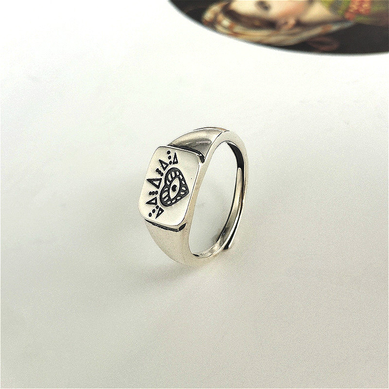 Fengxiaoling Real 925 Sterling Silver Gothic Totem Pattern Openwork Ring For Women Round Square Styles Fashion Jewelry