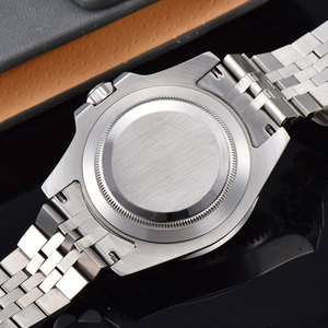 Image 3 - 40mm PARNIS שחור חיוג שחור/כחול bezel ספיר קריסטל תאריך GMT אוטומטי mens שעון מכאני שעונים