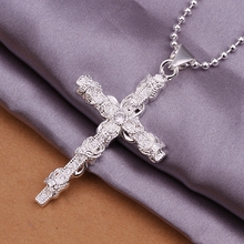 925 sterling silver jewellery vogue 2015 sizzling worth silver cross inlay beautiful crystal pendant silver chain males necklace CN359