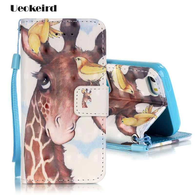 Fashion For iphone SE Case Giraffe Cartoon Flip Leather Wallte Cover For Apple iphone 5 5s 3D Personality Phone Cases