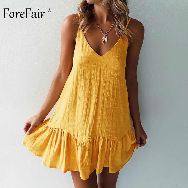 Forefair מיני קיץ שמלת רצועת כבוי כתף צהוב לבן לפרוע בתוספת גודל רופף מזדמן פשתן קיצי סקסי חוף שמלת נשים