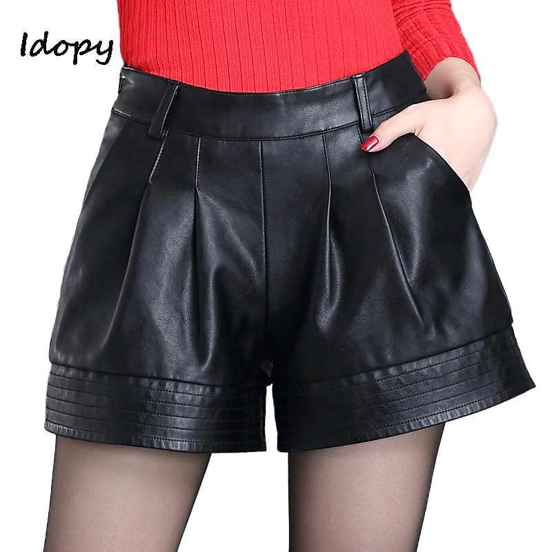 Idopy Fashion Womens PU leather <font><b>Shorts</b></font> Female Loose Fit Draped <font><b>Sexy</b></font> <font><b>Shorts</b></font> Night Club Mini <font><b>Short</b></font> Pants For Women image