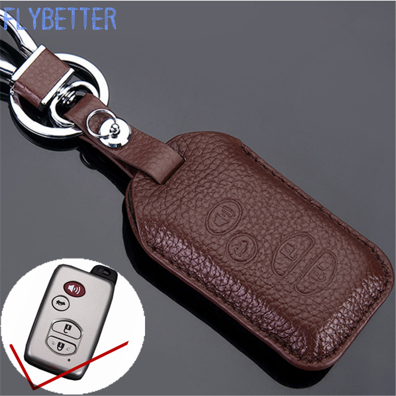 FLYBETTER Genuine Leather 4Button Smart Key Case Cover For Toyota Camry/Prado/Reiz Car Styling L1836 car styling car tire valves caps for toyota corolla avensis yaris fj200 prado camry reiz accessories stainless steel car styling