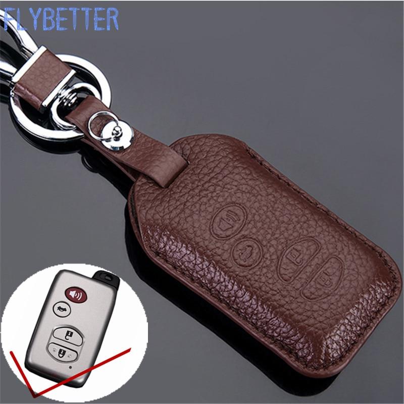 FLYBETTER Véritable En Cuir 4 Bouton Smart Key Case Cover Pour Toyota Camry/Prado/Reiz Car Styling L1836
