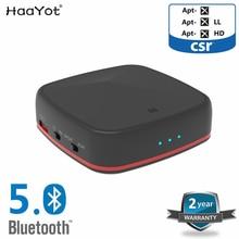 Haayot csr8675 bluetooth 5.0 송신기 수신기 오디오 무선 어댑터 aptx hd tv 헤드폰 용 저 지연 광 rca 3.5mm