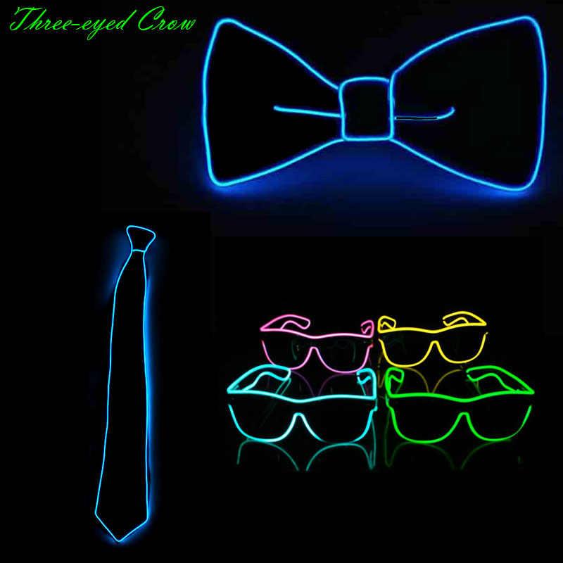 音楽サウンドファッションライト10色ライトアップled蝶ネクタイグローイングelワイヤーstip弓ネクタイ用djバークラブイブニングパーティー装飾