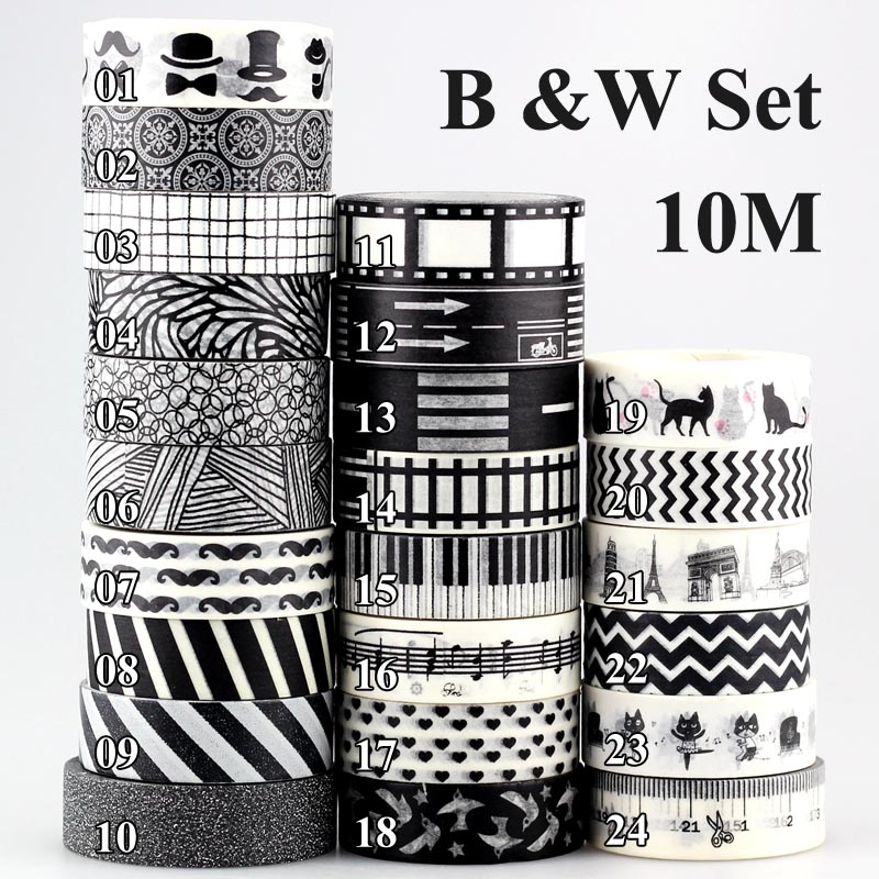 10m 1x Decorative Black And White Adhesive Tape Japanese Washi Tape DIY Planner Scrapbooking Paper Photo Album Masking Tape Set