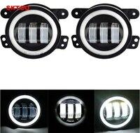 SKTOO 2pcs White Round fog lights lens Projector 30w led 4 inch Front bumper fog lights For Offroad Jeep Wrangler Dodge Chrysler