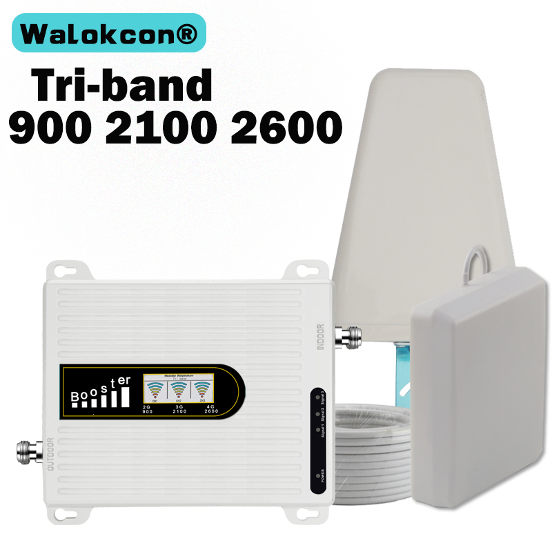 2019 New Amplifier 4g GSM Signal Booster 2G 3G 4G 900 2100 2600 70dB UMTS LTE Tri Band Mobile Phone Repeater 2g 3g