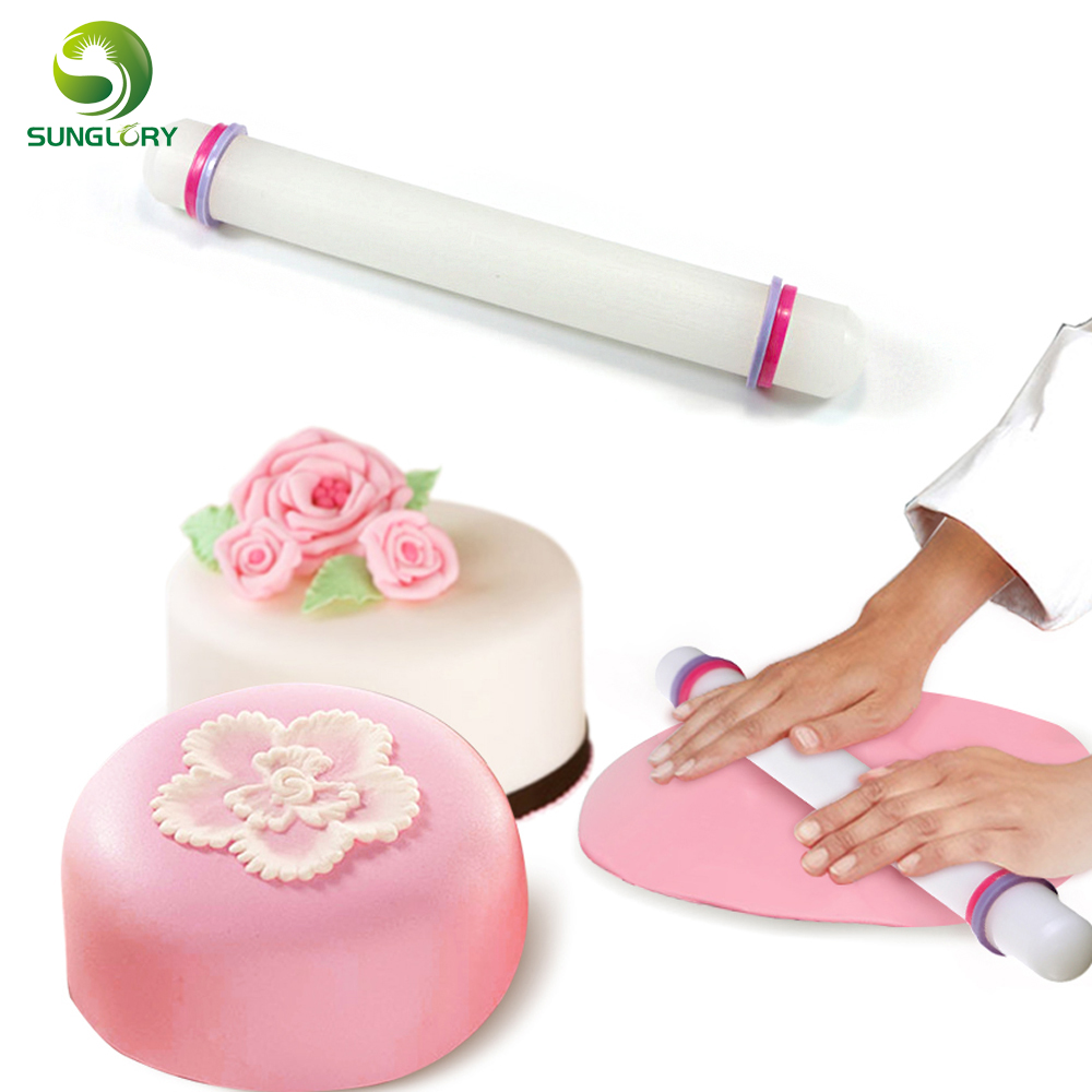 ⊰Kitchen White Non-Stick Glide Sugarcraft Cake Rolling Pin Fondant ...