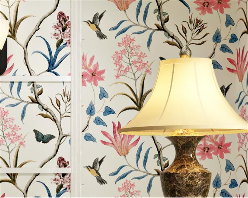 beibehang american village retro flower bird wallpaper living room