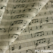 Note the piano sound spectrum printing cotton linen hemp cloth curtain Zakka