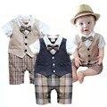 2017 Novo Verão Menino cavalheiro roupas de algodão de moda gravata borboleta bebê recém-nascido menino roupas para bebês