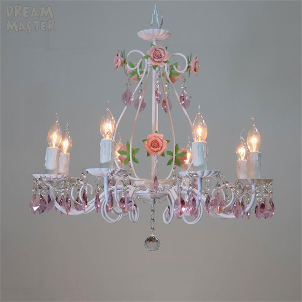 Modern white pink rose decor pendant light for dining room girl kids bedroom Romantic crystal flower