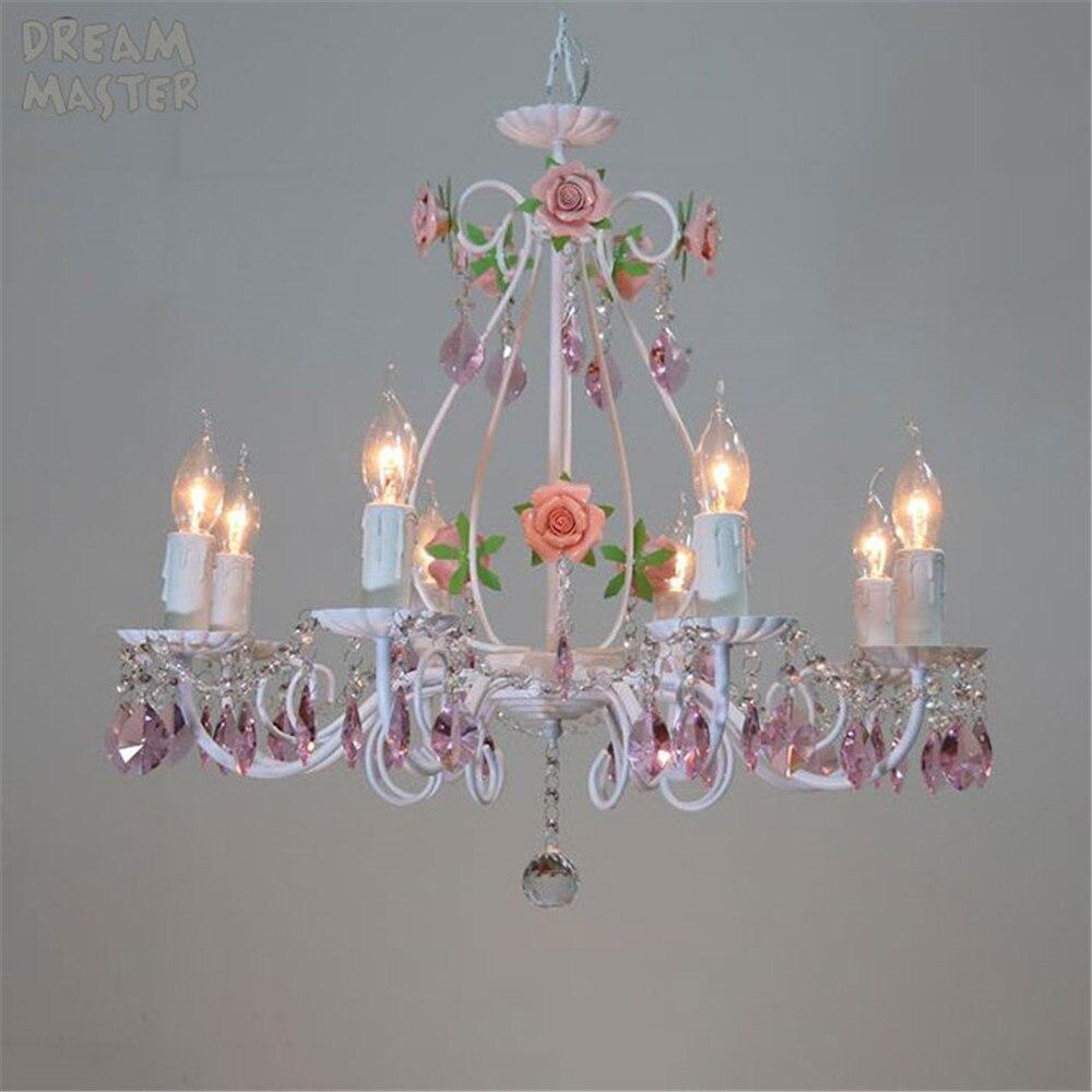 Современный подвесной светильник с розовыми и белыми розами для столовой, детской спальни для девочек Романтическая Подвесная лампа с крис