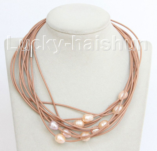 wholesale 10 piece 11mm pink freshwater pearls khaki leather necklace j10694