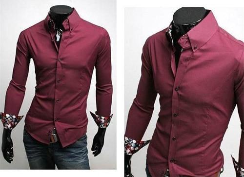5c521b1526256a Nuovo Stile di Disegno Mens Attività Camicie A Manica Lunga Slim T-shirt  Nero Bianco Vino Rosso Camice di Affari di Alta Qualità