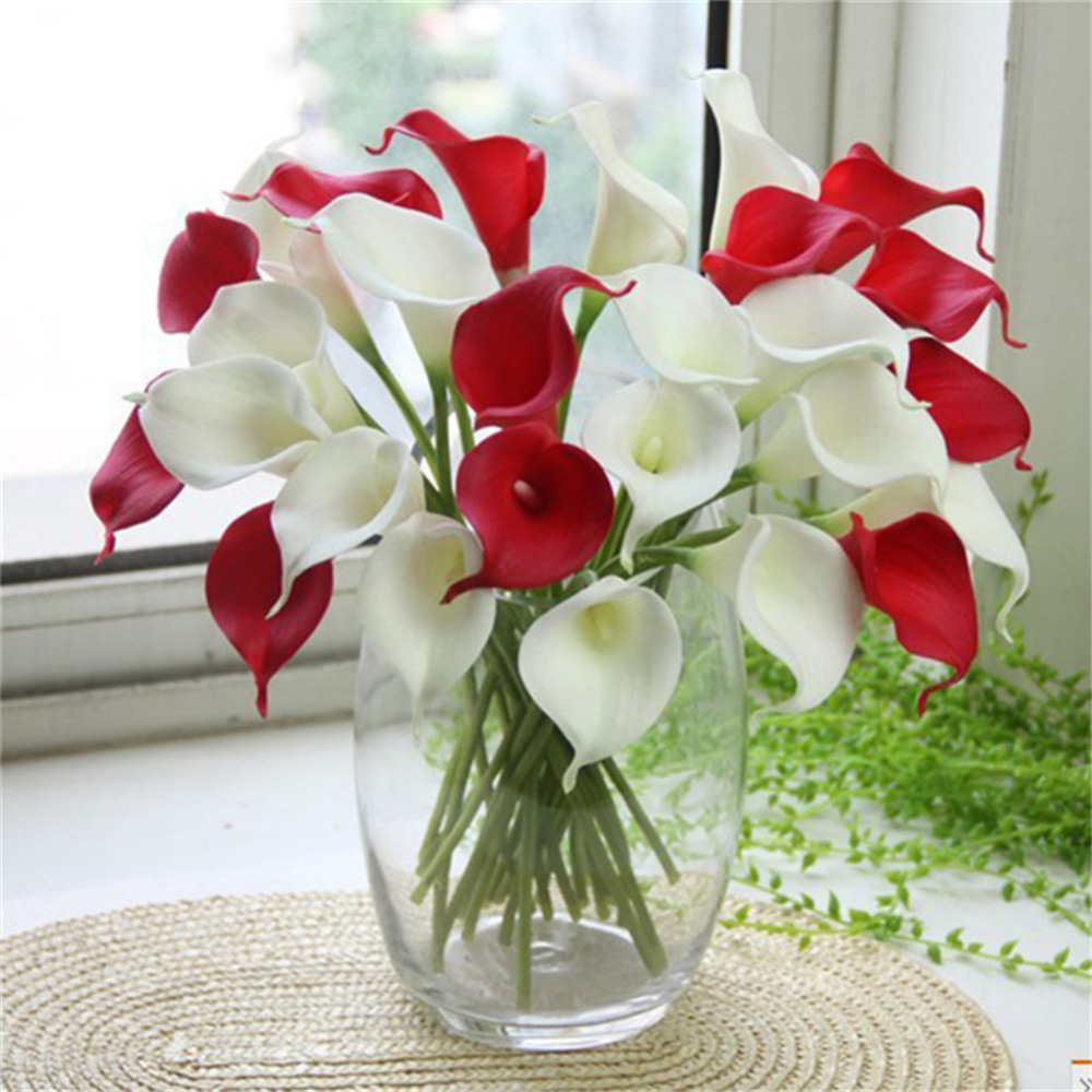 10Pcs/lot Various Artificial PU Fake Lily Calla Flower Blossom Party ...
