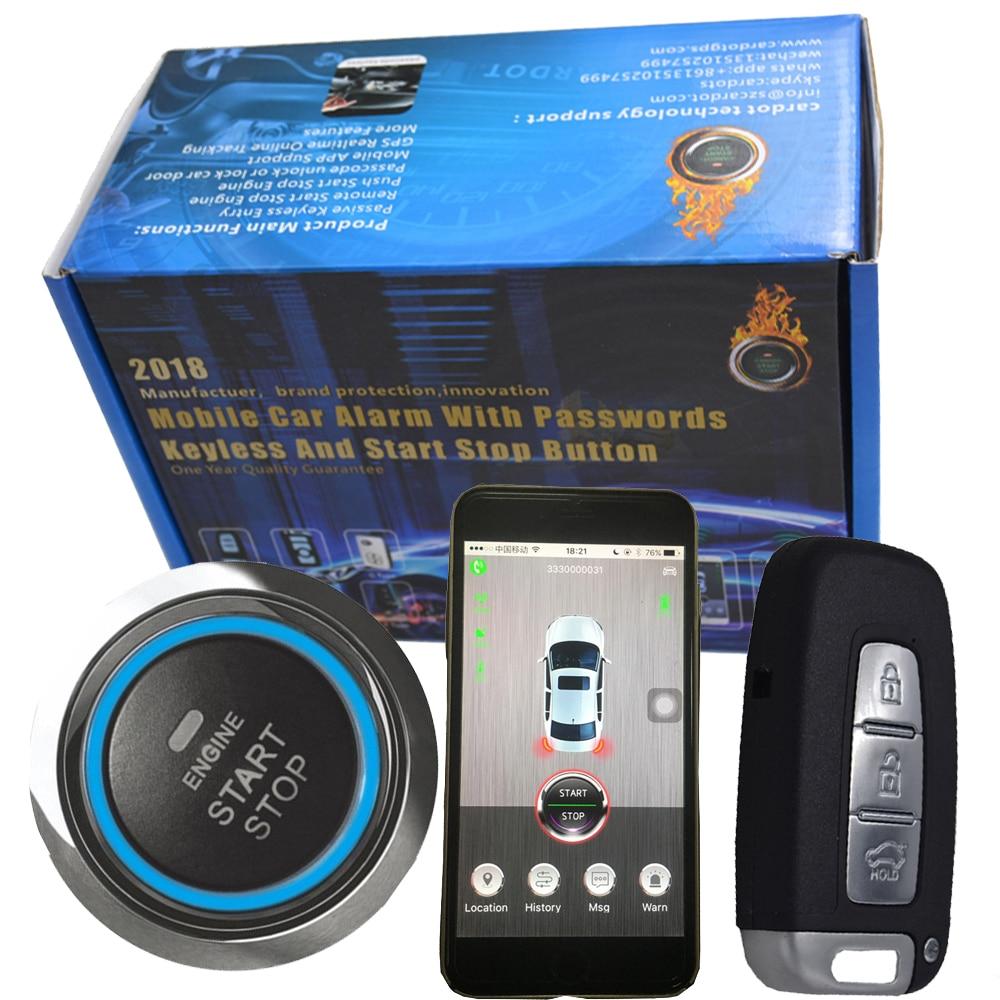 Automobile intelligente rfid gps système d'alarme de voiture avec bouton-poussoir start & stop moteur de voiture et téléphone intelligent app contrôle démarrer la voiture