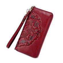 Genuine Leather Wallet Women Purse Wallet Female Credit Card Holder Clutch Money Bag Zipper Purses Red