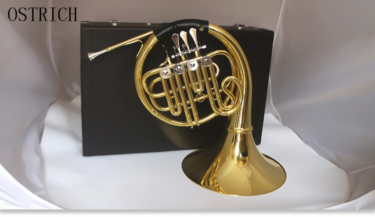 Brand New Ostrich Professional B flat key four single row split horn band professional playing musical instruments one horn double row 4 key single french horn fb key french horn with case surface gold lacquer professional musical instrument