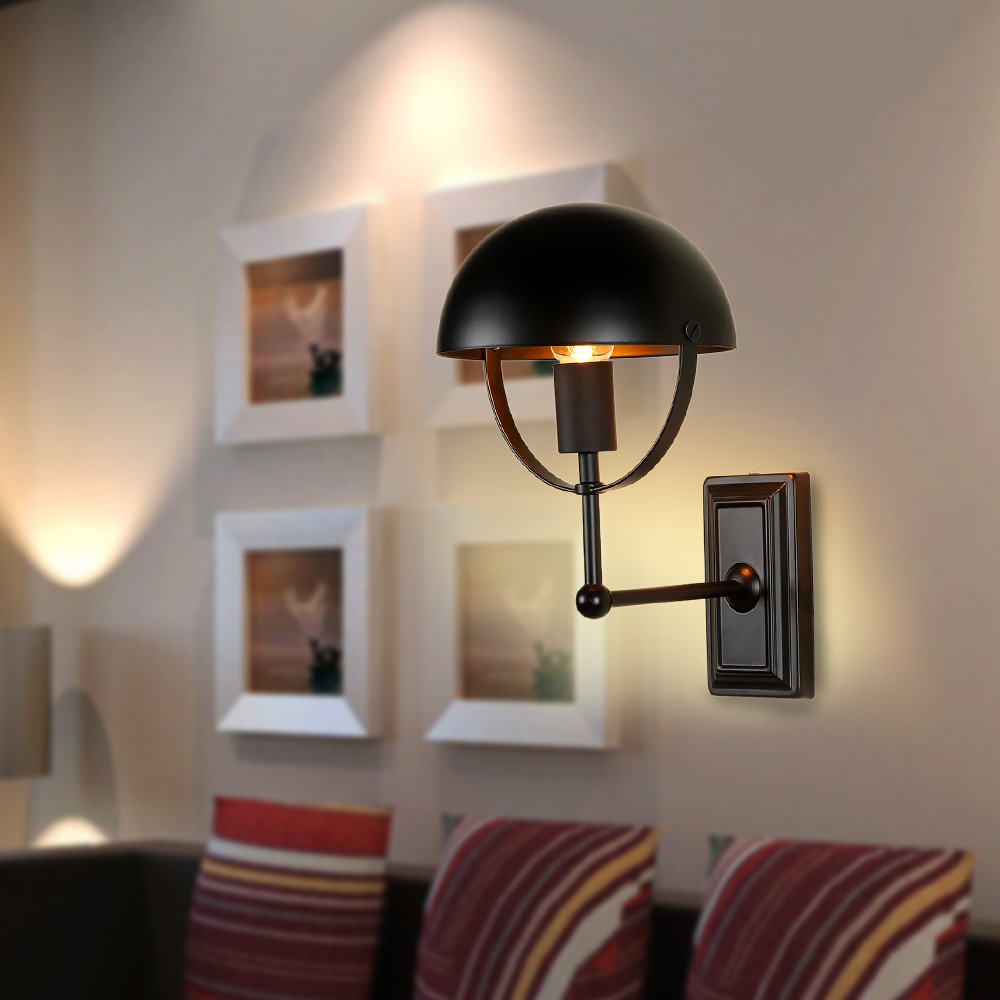 home light retro iron wall lamps bedroom bedside wall light restaurant bar personality deco wall sconces - Wall Lamps For Bedroom