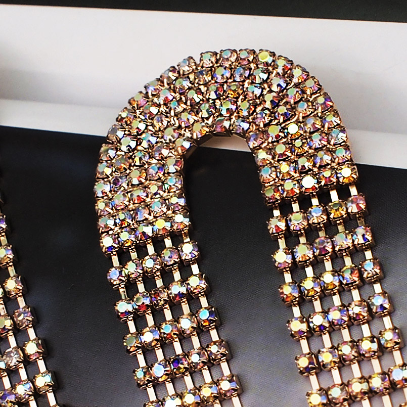 MANILAI Shiny Rhinestone Tassel Earring For Women Statement Long Dangle Earrings Charm Wedding Party Jewelry