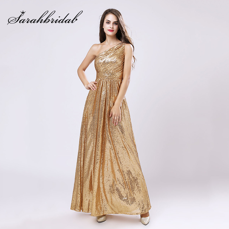 One Shoulder Gold Sequin Bridesmaid Dresses Cheap A Line Maid Of Honor Dress Women Plus Size Long Wedding Party Gowns OS421