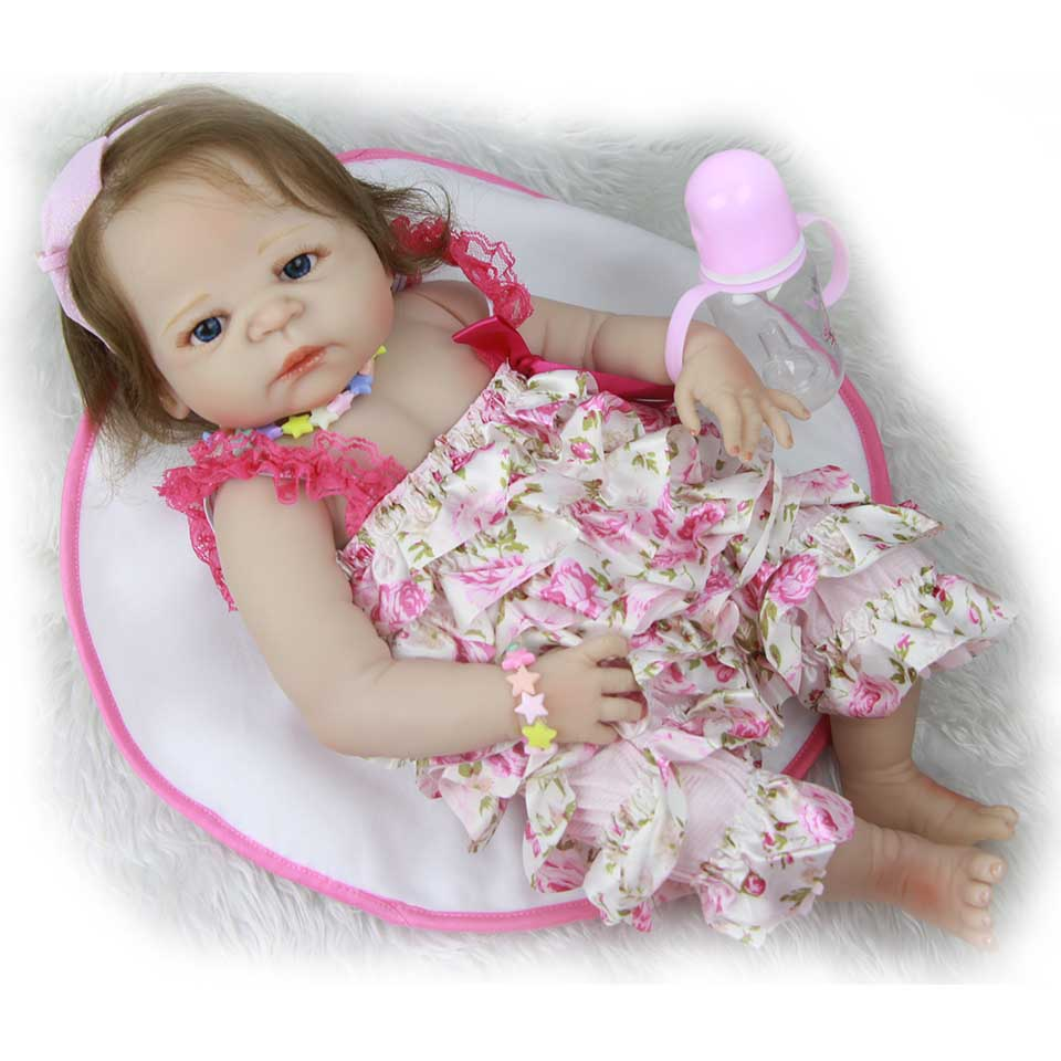 New Design Realistic 23 Reborn Baby Doll Full Silicone Body Girl Doll With Rooted Fiber Hair So Truly Bebe Alive Kids Xmas Toy