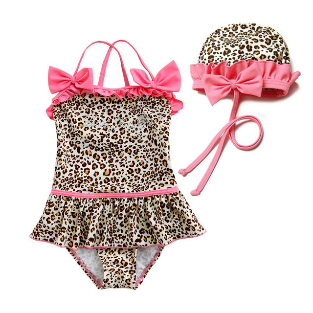 9c4905ea11 2016 New Leopard Designer Baby Girls Swimwear with Swimming Cap Summer  Style Cute Skirt Bathing Suit Fashion Infant Swimsuit