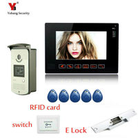 Yobang Security 9 Wired Color Video Door Phone Door Bell Intercom System with IR Night Vision Camera Outdoor Monitoring