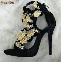 Women Luxurious Black Red Suede Gold Leaf Embellished Dress Sandals Stiletto Heels Crystal Wedding Shoes Hollow