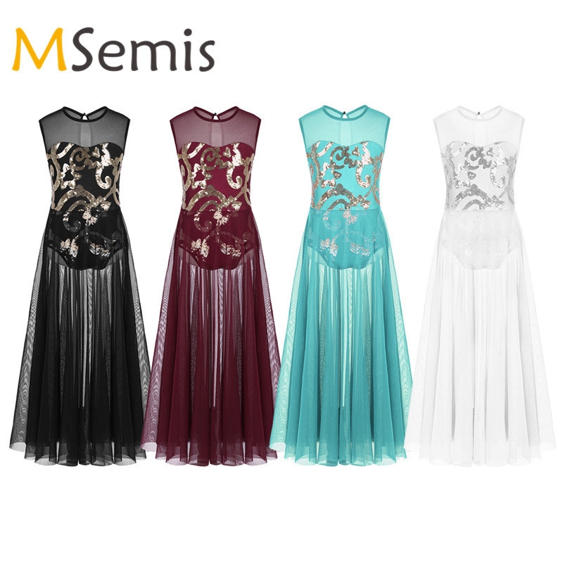 Teen Girls Lyrical Dress Praise Dance Dress Lyrical Costume Floral Sequins Tank Leotard Skirt For Gymnastics Leotard For Girls