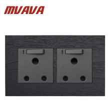 MVAVA Double UK 15A Switched Socket Black Artificial Wood 250V Wall Soutch Africa With LED Neon