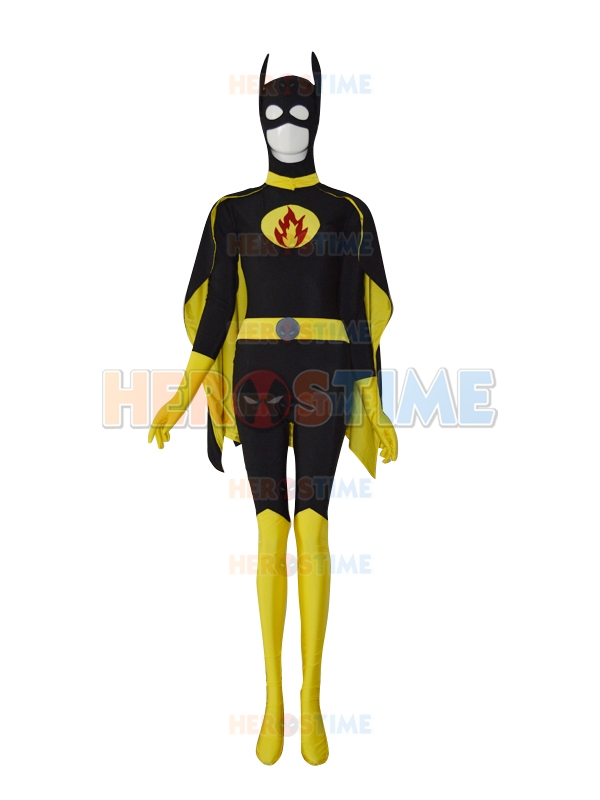 Batgirl Design Custom Made Symbol Superhero Costume Lycra Spandex Zentai Halloween Bodysuit with Cape Free Shipping