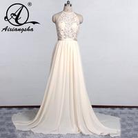 חוף שמלות כלה 2018 Vestido דה Noiva זול לבן שנהב חתונת שמלות ללא שרוולים ספגטי רצועות חרוזים robe de mariage
