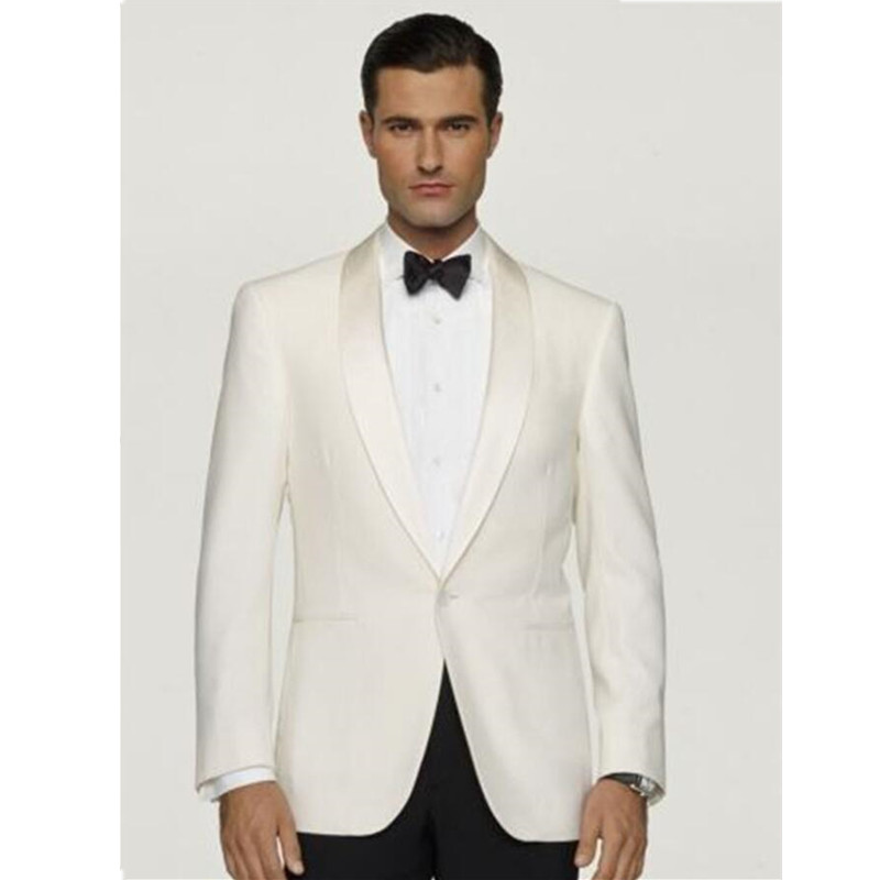 New Ivory Satin lapel smoking masculino Groom Wedding Suits For Men Groomsmen Tuxedos 2 Pieces Men Suits (Jacket+Pants)