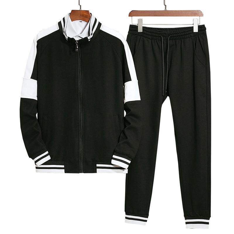 Men Patchwork Tracksuit Athletic Two Piece Sweatsuit Zip-up Jacket And Skinny Long Pants Sportwear Jogger Suit Men's Jogger Set