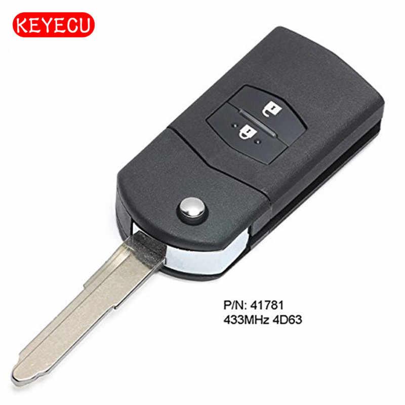 Keyecu amélioré Flip télécommande voiture porte-clés 433 MHz 4D63 2 bouton pour Mazda 3 BK série 2006-2009, BT50 2006 Visteon 41781