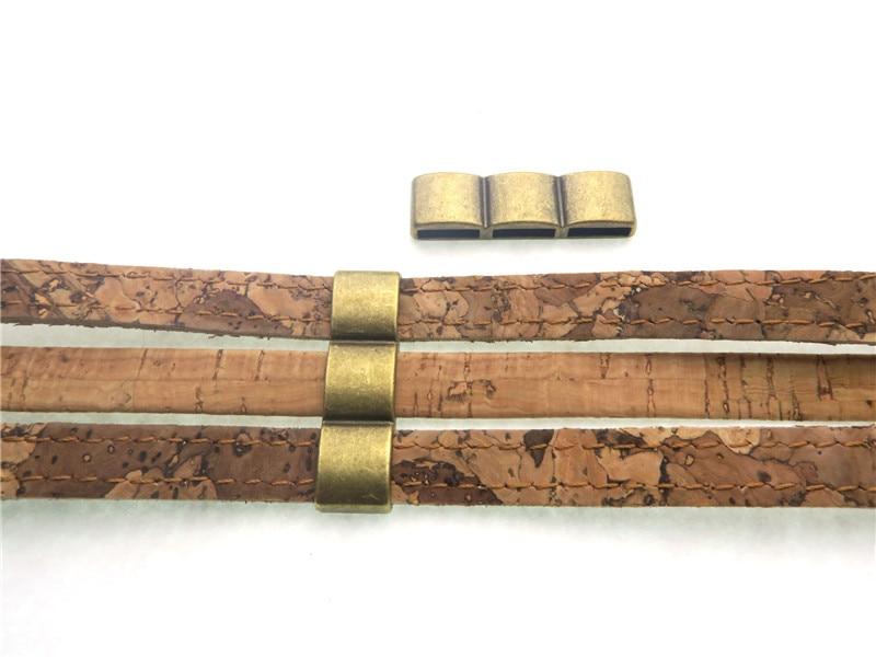 pcs para mm cabo plano strand pulseira de couro liso separador de achados conectores resultados da jia de bronze antigo