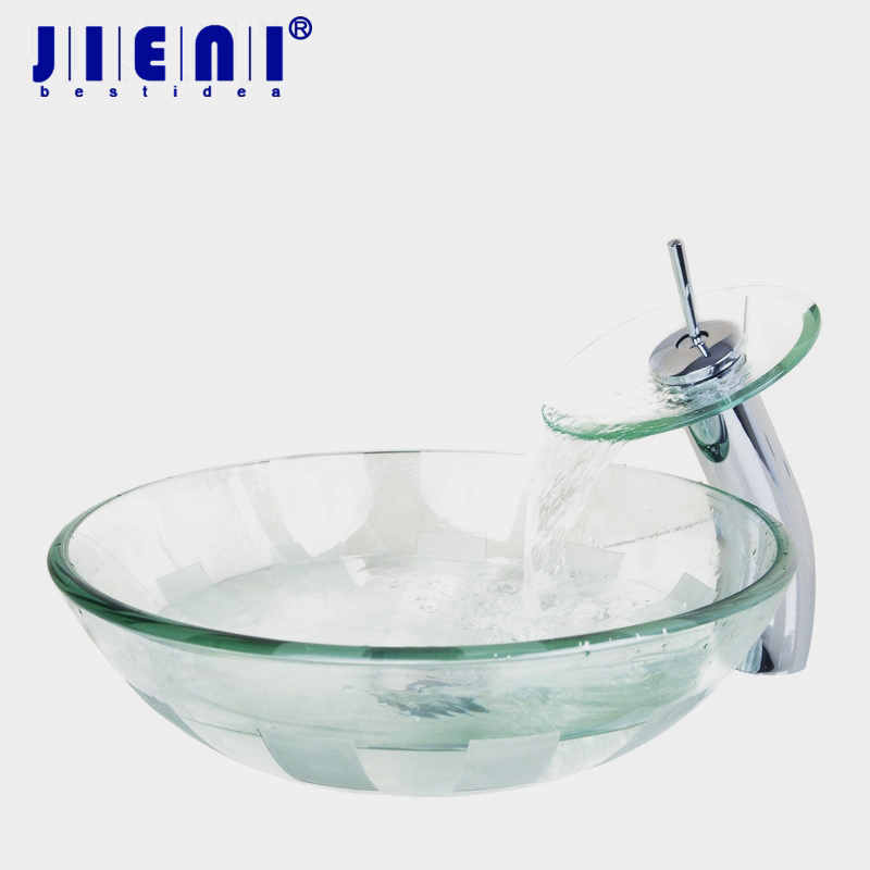 Bathroom Sink Clear Glass Wash Basin Tempered Glass Vessel Sink With Faucet Set 4012-1 цена