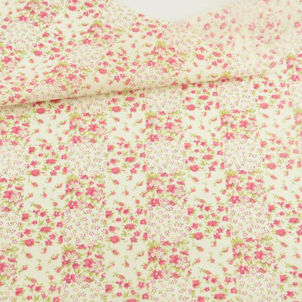 ᓂPequeña flor roja y hojas verdes diseño Tecido patchwork ...
