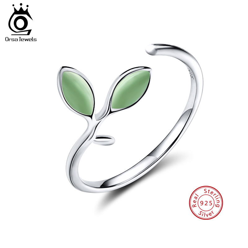 ORSA JEWELS 100% Real Sterling Silver Ring For Women Leaf Pattern Romantic Adjustable 2019 Fashion Silver Party Jewelry SR92