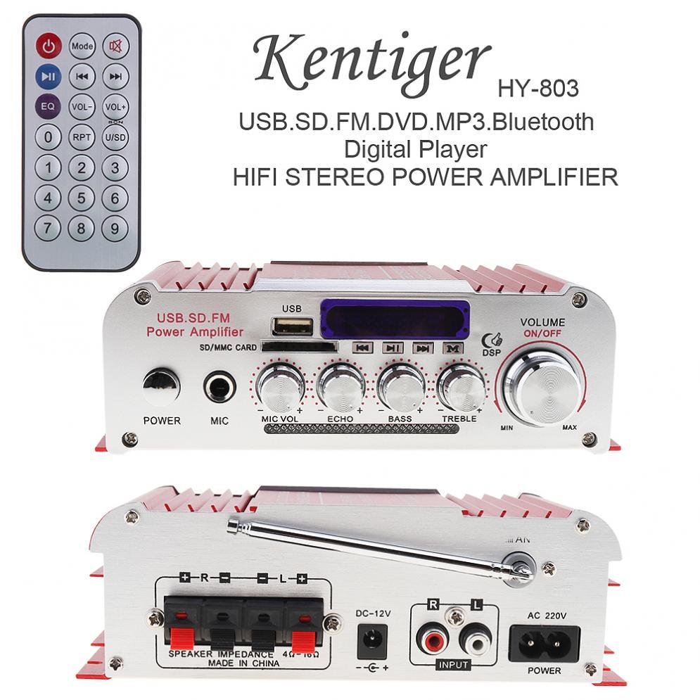 2CH HI-FI Digital Bluetooth Car Audio Power Amplifier FM Radio Player Support SD