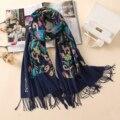 2019 calidad de diseño de bordado de pañuelos bufandas vintage de las mujeres de invierno bufanda larga tamaño chales y boleros señora suave caliente foulard