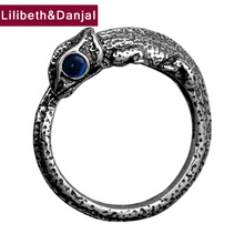 HONGCLUB 2017 925 Sterling Silver Ring Men Jewelry Cute Lizard Gemstone natural stone Ring Opening Women Gift Fine Jewelry R6 100% genuine 925 sterling silver retro men male ring thai silver fine jewelry gift snake cross heavy finger ring ch057436