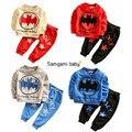 Зима детская одежда костюмы бэтмен дети Толстовки + брюки дети спортивный костюм мальчиков одежда set retail 2016 малыша Досуг