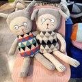 Hot estilo encantador tricô de lã boneca de pelúcia de coelho boneca de brinquedo de pelúcia boneca crianças-lucky boy sunday