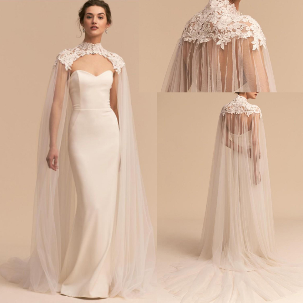 Appliques Tulle Wedding Bridal Cape High Neck Long Cloak Cathedral Length Wedding Lace Long Bridal Accessories