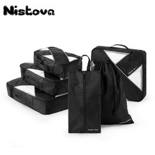 New Breathable Travel Bag 6 Pcs Packing Cubes Luggage Packing Organizers Weekend Bag Shoe Bag Fit 26 Carry on Suitcase bagsmart 7 pcs set packing cubes travel luggage packing organizers unisex weekend luggage bag travel organizers with laundry bag
